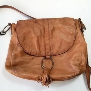 Lucky Brand Vintage Brown Tan Leather Bag Purse